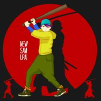 Giovane samurai giapponese del ragazzo con il byte di baseball