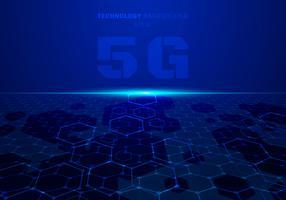 Il fondo blu di prospettiva del modello di esagono di tecnologia di concetto di fururistic astratto 5G con luce esplode.