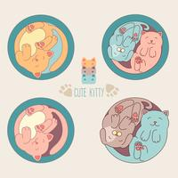 Piccolo gatto bianco e cane. Illustrazione vettoriale bambini L'insieme dei caratteri animali svegli e degli elementi grafici per i bambini progetta nello stile disegnato a mano del fumetto su fondo bianco.