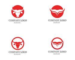 Icone del modello di logo e simboli del corno di toro