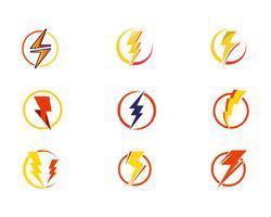 Vettore delle icone di colpo di fulmine di potenza istantanea