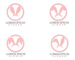 Progettazione dell'icona di vettore del modello di logo del coniglio