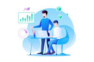 Il lavoro di squadra degli uomini d'affari sta lavorando all'analisi del marketing e del loro prodotto con analisi di grafici, informazioni e dati. illustrazione di design piatto personaggio