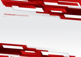 Forme geometriche brillanti rosse e bianche dell'intestazione astratta che si sovrappongono fondo futuristico di presentazione di stile di tecnologia commovente con lo spazio della copia.
