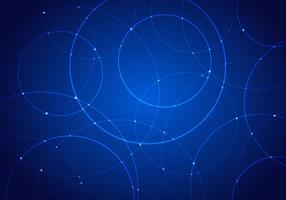 Cerchi di stile futuristico di tecnologia astratta e punti luce incandescente su sfondo blu scuro.