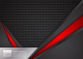 Fondo moderno di progettazione di tecnologia di colore nero e rosso geometrico astratto, illustrazione di vettore. per il tuo business