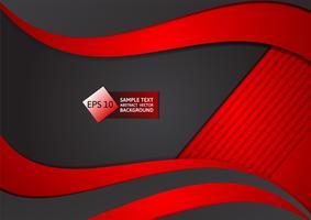 Fondo geometrico dell'estratto di colore rosso e nero, illustrazione di vettore