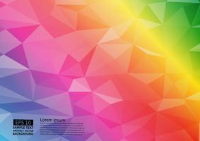 Fondo triangolare geometrico di vettore dell'illustrazione di pendenza triangolare di colore dell'arcobaleno. Disegno poligonale vettoriale per lo sfondo del tuo business.