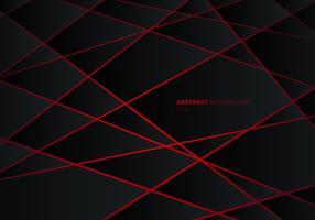 Poligono geometrico nero astratto sul fondo futuristico al neon rosso di concetto di progetto di tecnologia della luce laser della luce.