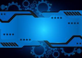 Fondo blu dell'estratto di vettore dell'ingranaggio di tecnologia