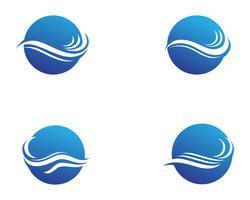 Progettazione dell'illustrazione di vettore del modello di Logo dell'onda di acqua