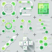Set di 9 infographics minimal piatto vettore