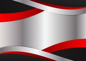 Design grafico in argento con colori rosso e nero. Vector astratto geometrico con spazio di copia