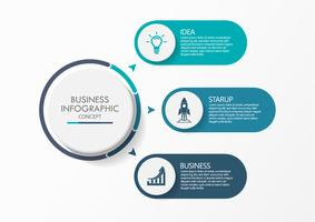 Visualizzazione dei dati aziendali. Icone infographic di cronologia progettate per modello astratto della priorità bassa