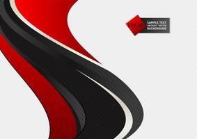 Illustrazione di vettore del fondo dell'onda di colore rosso e nero