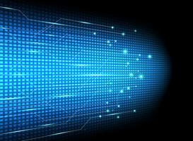 Innovazione di dati di trasferimento di tecnologia astratta su fondo blu.