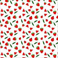 Progettazione senza cuciture del modello della coccinella e della frutta su fondo bianco, illustrazione di vettore