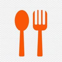 Illustrazione di vettore dell'icona del cucchiaio e della forcella