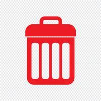 illustrazione di vettore dell'icona di cestino