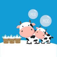 Cartone animato di mucca e bambino. vettore