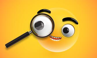 Emoticon alta dettagliata giallo con un magnifyer realistico, illustrazione vettoriale
