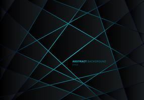 Poligono geometrico nero astratto sul fondo futuristico al neon di concetto di progetto di tecnologia del neon della luce blu vettore
