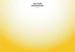Effetto radiale di semitono astratto giallo su fondo bianco. Stile grafico vintage o retrò.