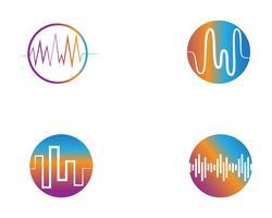 modello dell'icona di vettore di logo dell'illustrazione dell'onda sonora