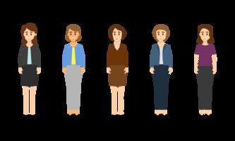 Carattere di donna di affari in diverse pose insieme.