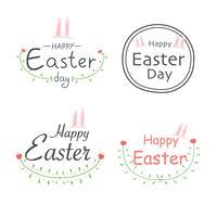 Set di etichette di Pasqua felice. Elementi per disegni calligrafici. Illustrazione vettoriale a mano.