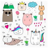 Doodle Cute Bear Set. Illustrazione vettoriale di stile disegnato a mano.