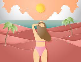 Concetto creativo del fondo di estate dell'illustrazione con paesaggio della spiaggia e del mare, ragazza del bikini.