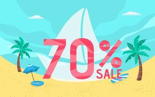 Estate vendita banner vacanza con scena sulla spiaggia. vettore