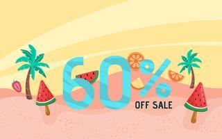 Estate vendita banner vacanza con scena sulla spiaggia vettore