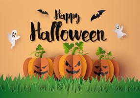 Festa di Halloween con zucche spaventose vettore