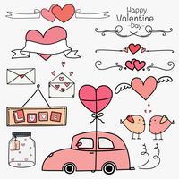 Buon San Valentino. Insieme degli ornamenti di San Valentino di Doodle e del concetto rosa degli elementi decorativi. Palloncino auto e cuore, banner, nastro, etichette, badge, adesivi. Illustrazione vettoriale a mano.