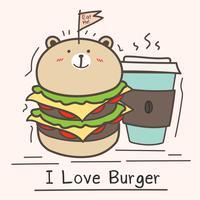 Amo il concetto dell'hamburger con l'hamburger dell'orso e la tazza di caffè svegli. vettore