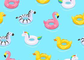 Il modello senza cuciture degli animali variopinti fa galleggiare i giocattoli svegli dei bambini su fondo blu - Vector l'illustrazione.
