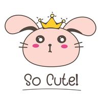 Little Bunny Princess. Illustrazione vettoriale carino coniglietto.