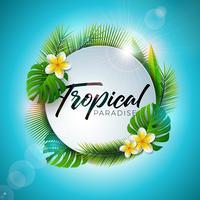 Tipografia Summer Tropical Paradise vettore