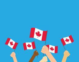 Illustrazione vettoriale mani che tengono le bandiere del Canada su sfondo bianco