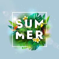 Progettazione di vacanza estiva con l'uccello del tucano, il fiore del pappagallo e le piante tropicali su fondo blu. Illustrazione vettoriale con foglie di palma esotiche e filodendro
