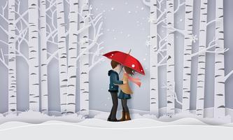 Illustrazione di amore e stagione invernale vettore
