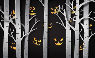 Arte di carta di felice halloween vettore