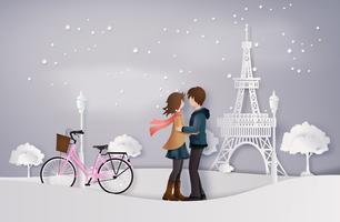 illustrazione dell'amore e della stagione invernale vettore