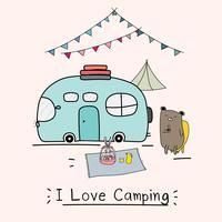Amo il concetto di campeggio con orso carino e camper. Illustrazione vettoriale per bambini.