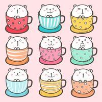 Set di simpatico orso nella tazza. Illustrazione vettoriale