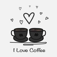 Amo l'illustrazione disegnata a mano di vettore del caffè. Doodle Art.