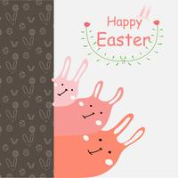 Cartolina d'auguri di felice giorno di Pasqua. Illustrazione disegnata a mano di vettore di progettazione dell'elemento del fiore e del coniglietto.