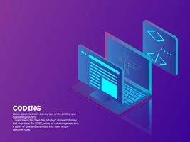 concetto di codifica con il laptop vettore